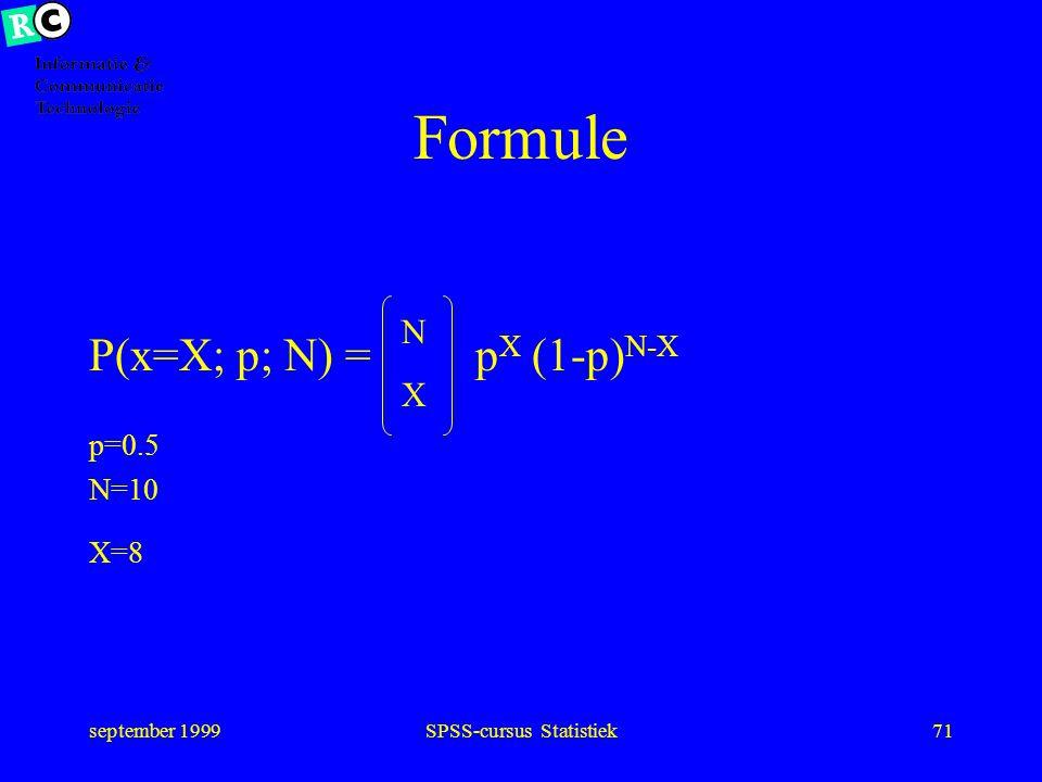 september 1999SPSS-cursus Statistiek70 Kansverdeling
