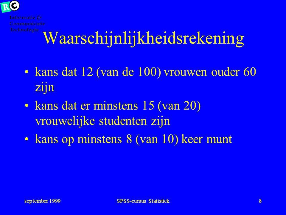 september 1999SPSS-cursus Statistiek7 Steekproef een willekeurige trekking uit de populatie (aselect) 100 nederlandse vrouwen 20 studenten Geneeskunde