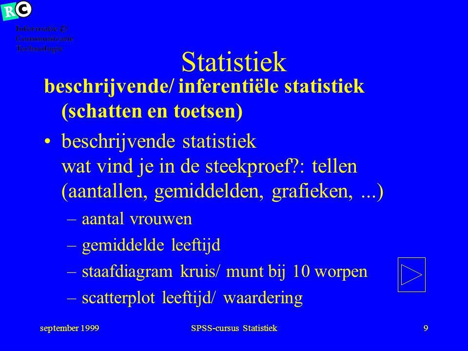 september 1999SPSS-cursus Statistiek19 Trek steekproef Trek een aselecte steekproef uit de populatie Doe de waarnemingen (tellen, meten, …)