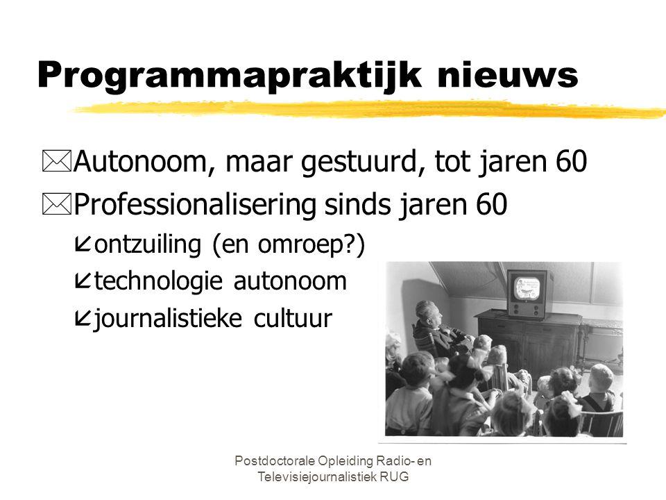 Postdoctorale Opleiding Radio- en Televisiejournalistiek RUG Vier grote debatten *Taak overheid *Externe markt: commercie of publiek *Interne markt: e