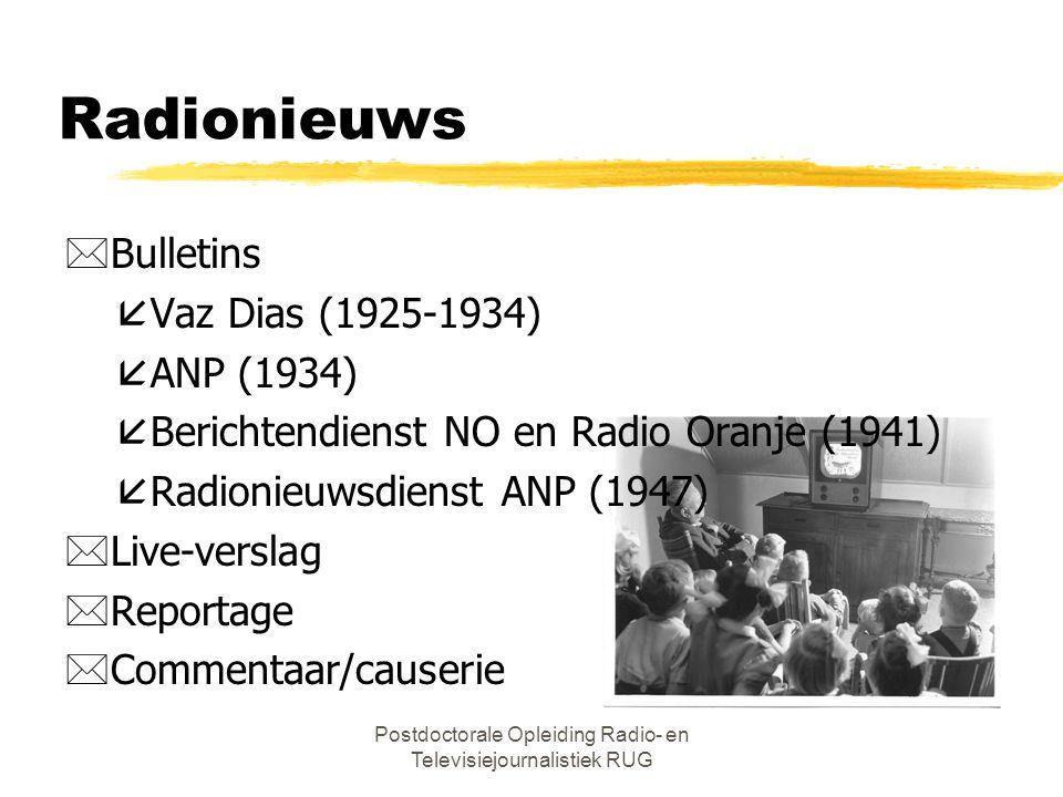 Postdoctorale Opleiding Radio- en Televisiejournalistiek RUG Radionieuws *Bulletins åVaz Dias (1925-1934) åANP (1934) åBerichtendienst NO en Radio Oranje (1941) åRadionieuwsdienst ANP (1947) *Live-verslag *Reportage *Commentaar/causerie