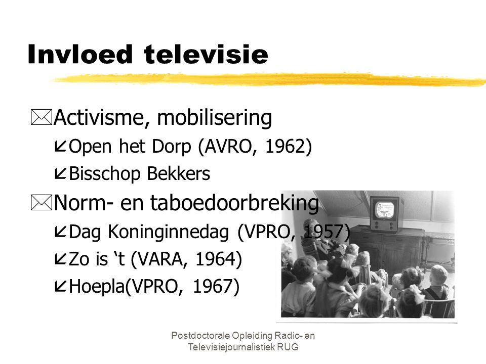 Postdoctorale Opleiding Radio- en Televisiejournalistiek RUG Invloed televisie *Activisme, mobilisering åOpen het Dorp (AVRO, 1962) åBisschop Bekkers *Norm- en taboedoorbreking åDag Koninginnedag (VPRO, 1957) åZo is 't (VARA, 1964) åHoepla(VPRO, 1967)