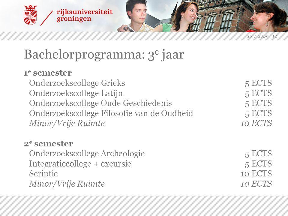 26-7-2014 | 12 Bachelorprogramma: 3 e jaar 1 e semester Onderzoekscollege Grieks5 ECTS Onderzoekscollege Latijn5 ECTS Onderzoekscollege Oude Geschiede