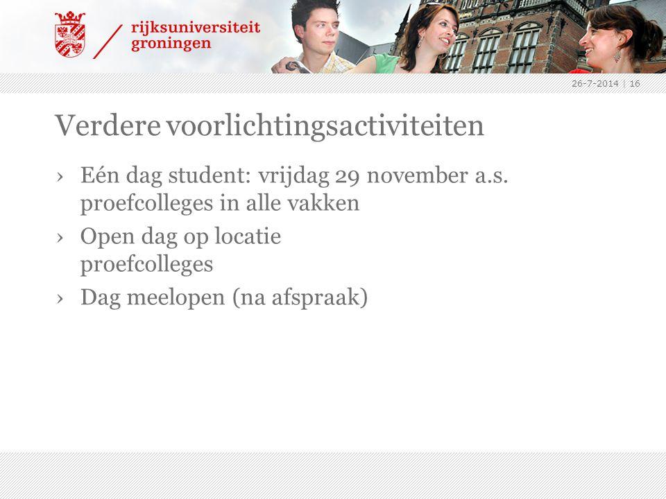 26-7-2014   16 Verdere voorlichtingsactiviteiten ›Eén dag student: vrijdag 29 november a.s.