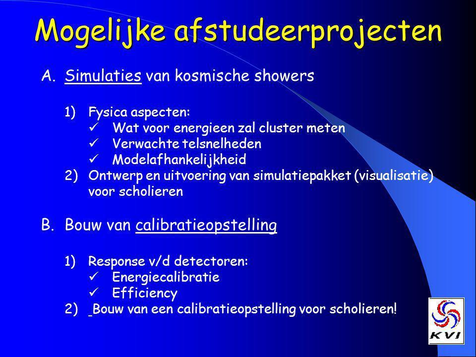 Mogelijke afstudeerprojecten A.Simulaties van kosmische showers 1)Fysica aspecten: Wat voor energieen zal cluster meten Verwachte telsnelheden Modelafhankelijkheid 2)Ontwerp en uitvoering van simulatiepakket (visualisatie) voor scholieren B.Bouw van calibratieopstelling 1)Response v/d detectoren: Energiecalibratie Efficiency 2) Bouw van een calibratieopstelling voor scholieren!