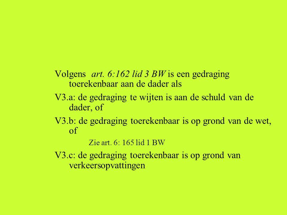 Volgens art. 6:162 lid 3 BW is een gedraging toerekenbaar aan de dader als V3.a: de gedraging te wijten is aan de schuld van de dader, of V3.b: de ged