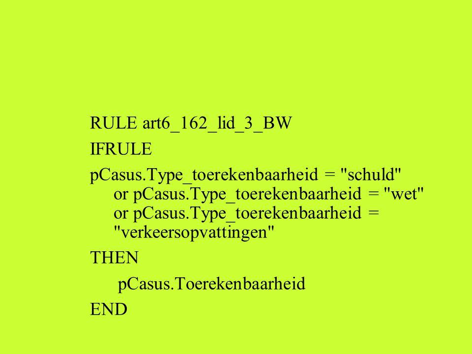 RULE art6_162_lid_3_BW IFRULE pCasus.Type_toerekenbaarheid = schuld or pCasus.Type_toerekenbaarheid = wet or pCasus.Type_toerekenbaarheid = verkeersopvattingen THEN pCasus.Toerekenbaarheid END
