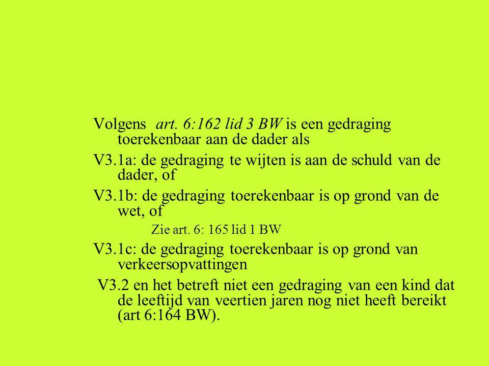 Volgens art. 6:162 lid 3 BW is een gedraging toerekenbaar aan de dader als V3.1a: de gedraging te wijten is aan de schuld van de dader, of V3.1b: de g