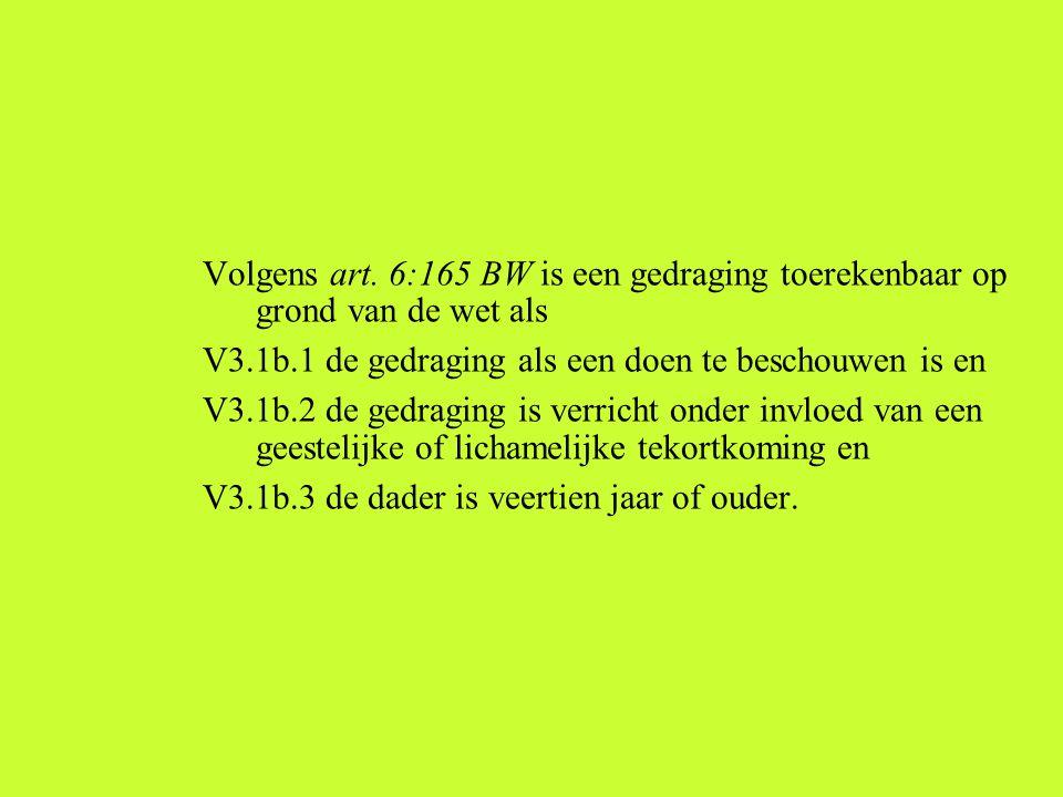 Volgens art. 6:165 BW is een gedraging toerekenbaar op grond van de wet als V3.1b.1 de gedraging als een doen te beschouwen is en V3.1b.2 de gedraging