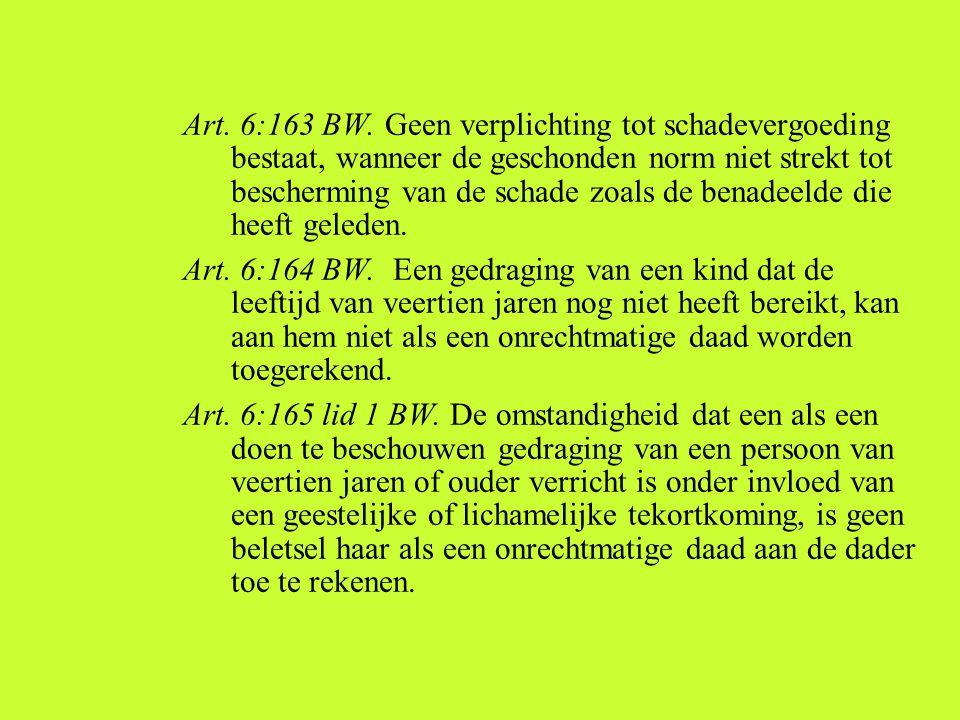 Art. 6:163 BW. Geen verplichting tot schadevergoeding bestaat, wanneer de geschonden norm niet strekt tot bescherming van de schade zoals de benadeeld