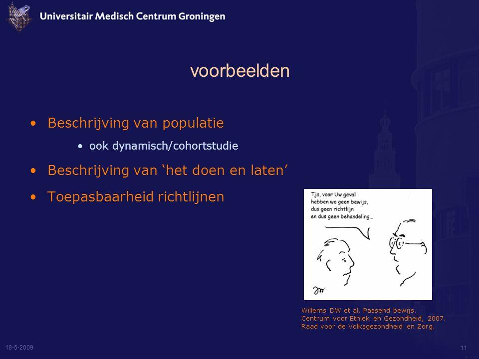 18-5-2009 11 voorbeelden Beschrijving van populatie ook dynamisch/cohortstudie Beschrijving van 'het doen en laten' Toepasbaarheid richtlijnen Willems DW et al.