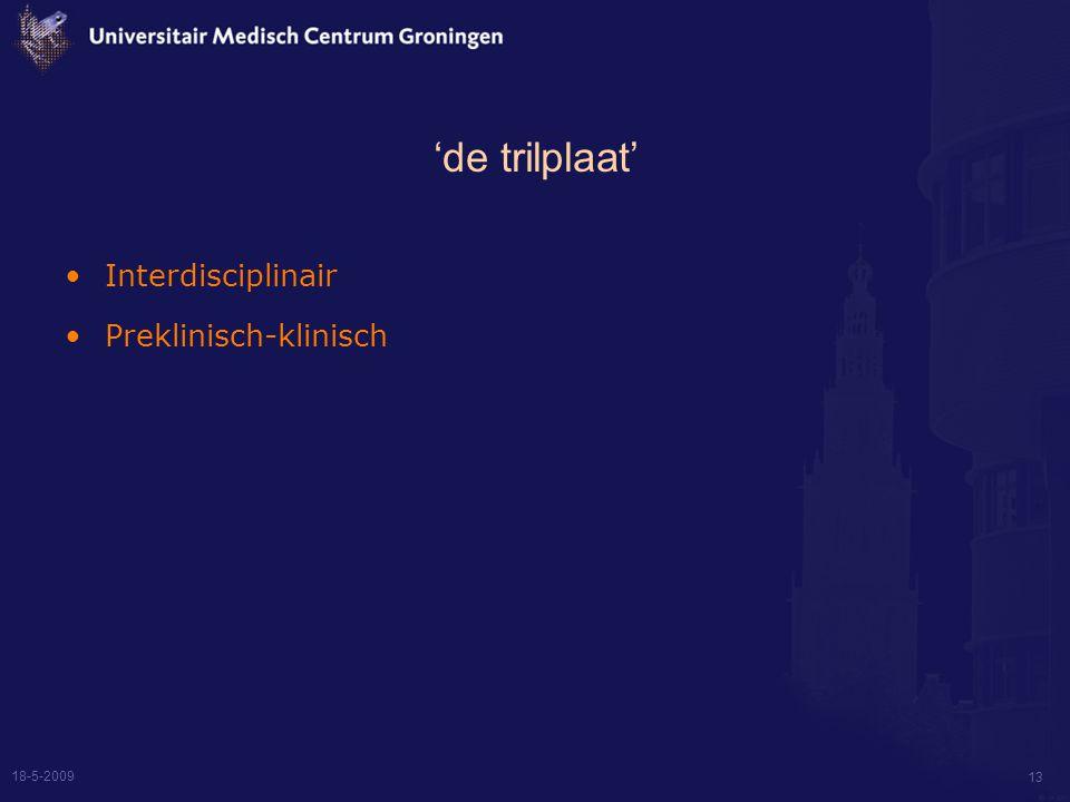 18-5-2009 13 'de trilplaat' Interdisciplinair Preklinisch-klinisch