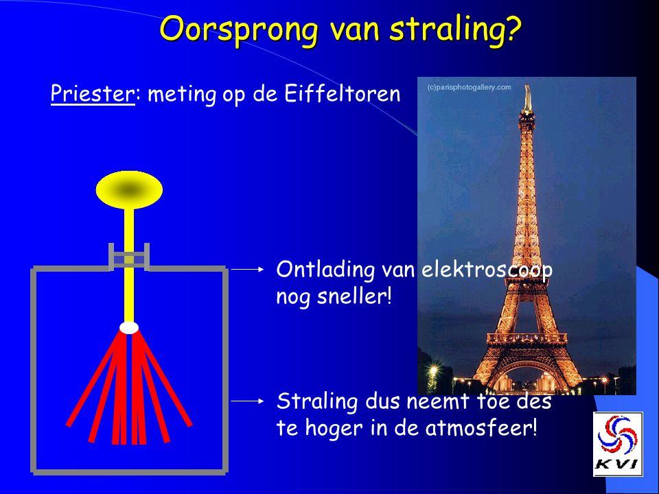 Oorsprong van straling? Priester: meting op de Eiffeltoren Ontlading van elektroscoop nog sneller! Straling dus neemt toe des te hoger in de atmosfeer