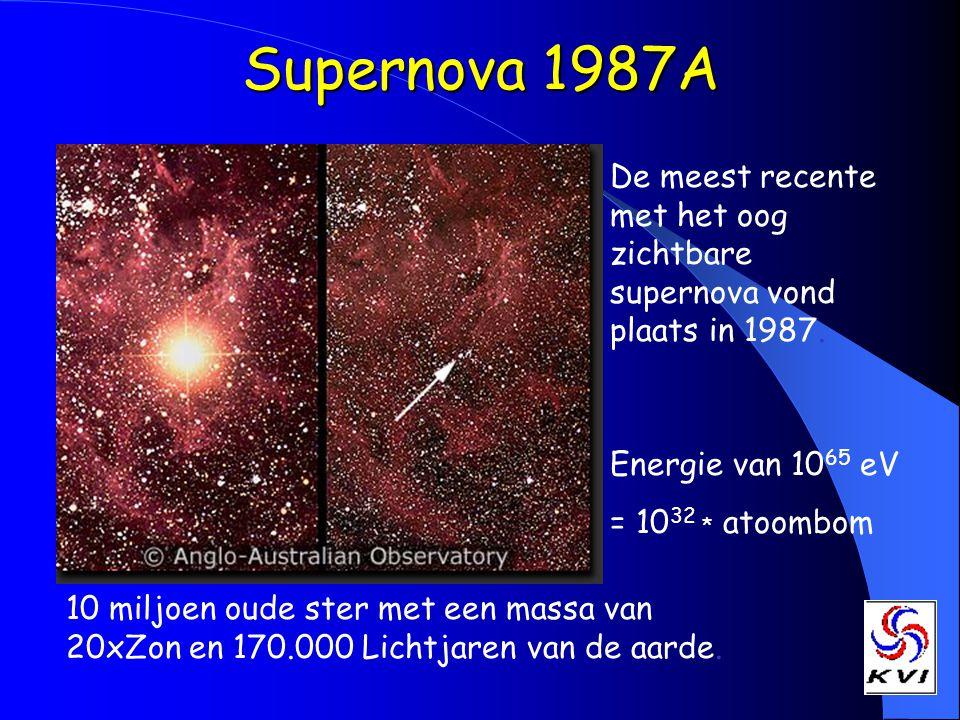 Supernova 1987A De meest recente met het oog zichtbare supernova vond plaats in 1987. 10 miljoen oude ster met een massa van 20xZon en 170.000 Lichtja
