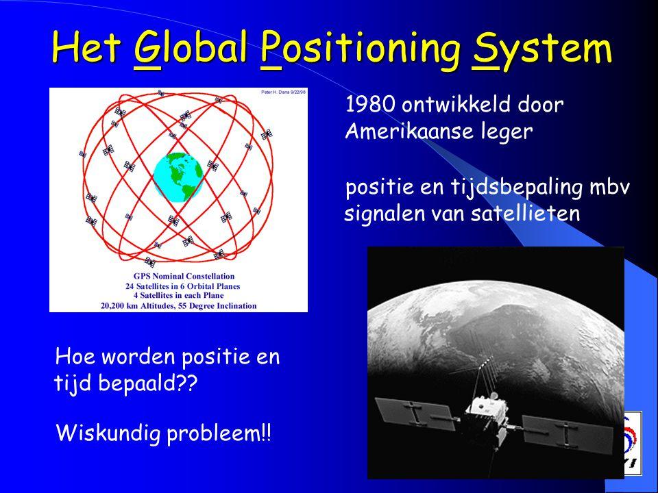 Het Global Positioning System 1980 ontwikkeld door Amerikaanse leger positie en tijdsbepaling mbv signalen van satellieten Hoe worden positie en tijd