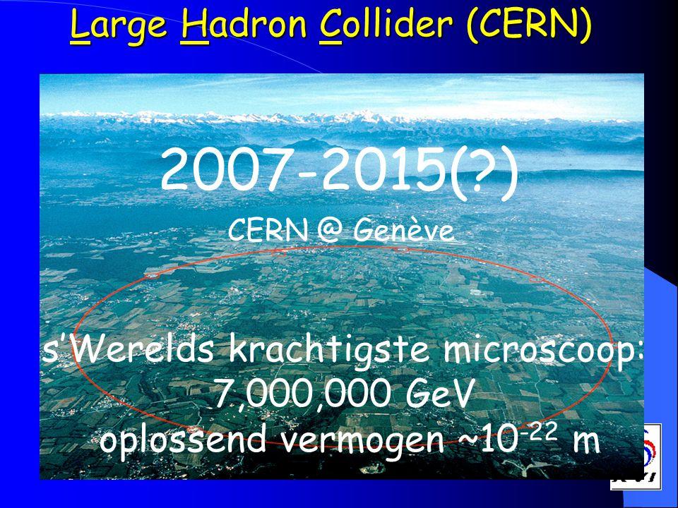 Large Hadron Collider (CERN) 2007-2015(?) CERN @ Genève s'Werelds krachtigste microscoop: 7,000,000 GeV oplossend vermogen ~10 -22 m
