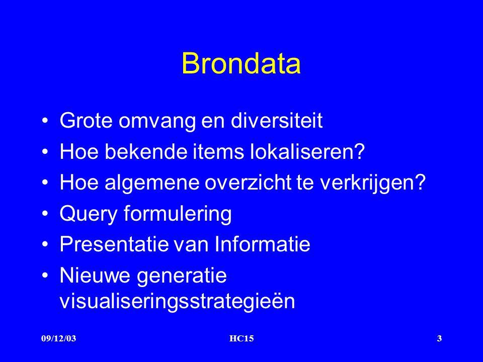 09/12/03HC153 Brondata Grote omvang en diversiteit Hoe bekende items lokaliseren.