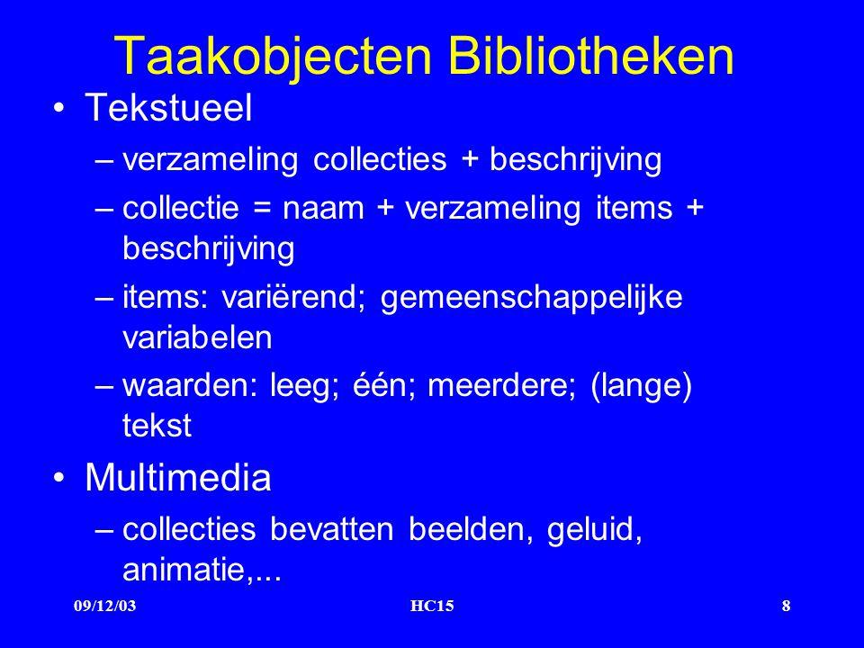 09/12/03HC158 Taakobjecten Bibliotheken Tekstueel –verzameling collecties + beschrijving –collectie = naam + verzameling items + beschrijving –items: variërend; gemeenschappelijke variabelen –waarden: leeg; één; meerdere; (lange) tekst Multimedia –collecties bevatten beelden, geluid, animatie,...