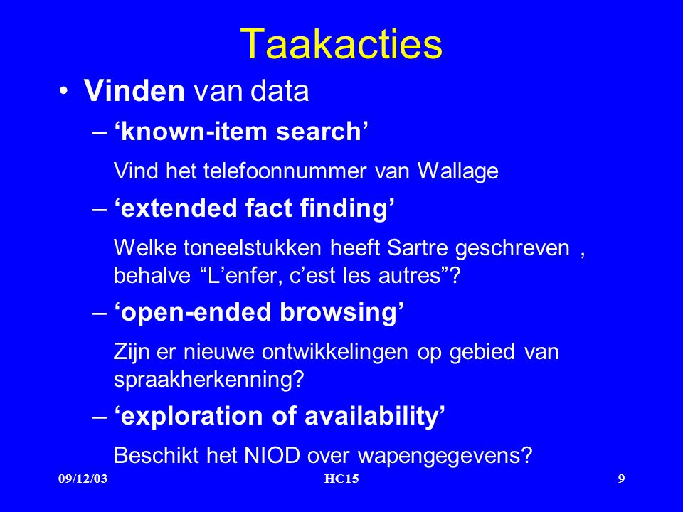 09/12/03HC159 Taakacties Vinden van data –'known-item search' Vind het telefoonnummer van Wallage –'extended fact finding' Welke toneelstukken heeft Sartre geschreven, behalve L'enfer, c'est les autres .