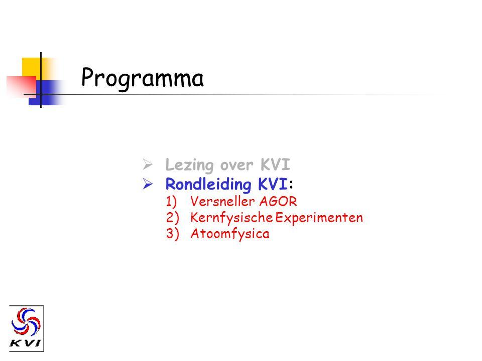 Programma  Lezing over KVI  Rondleiding KVI: 1)Versneller AGOR 2)Kernfysische Experimenten 3)Atoomfysica