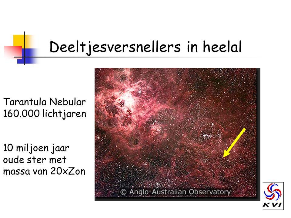 Deeltjesversnellers in heelal Tarantula Nebular 160.000 lichtjaren 10 miljoen jaar oude ster met massa van 20xZon