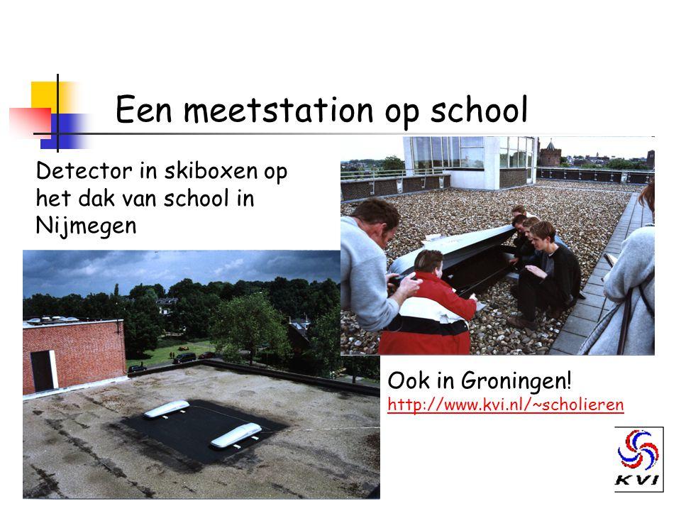 Een meetstation op school Detector in skiboxen op het dak van school in Nijmegen Ook in Groningen.