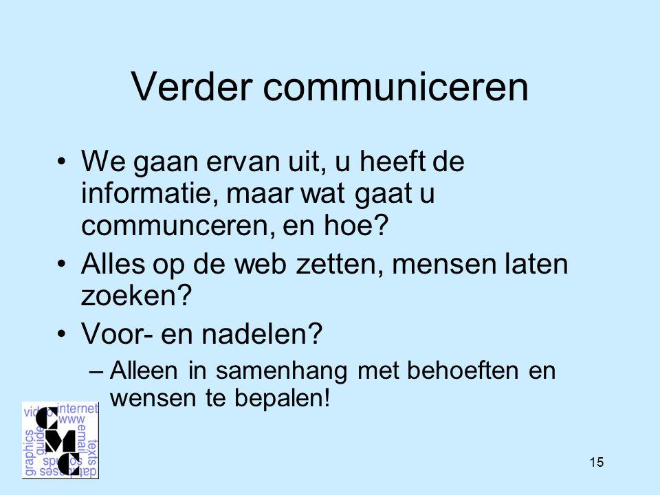 15 Verder communiceren We gaan ervan uit, u heeft de informatie, maar wat gaat u communceren, en hoe.