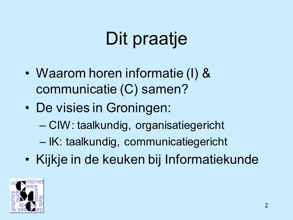 43 Veel kansen voor leuke IK/CIW projecten: voorbeelden Gespecialiseerde communicatiemiddelen voor samenwerkingen, bijzondere groepen Bijzondere aandacht voor taal –Wat willen de gebruikers van het Drentse woordenboek.