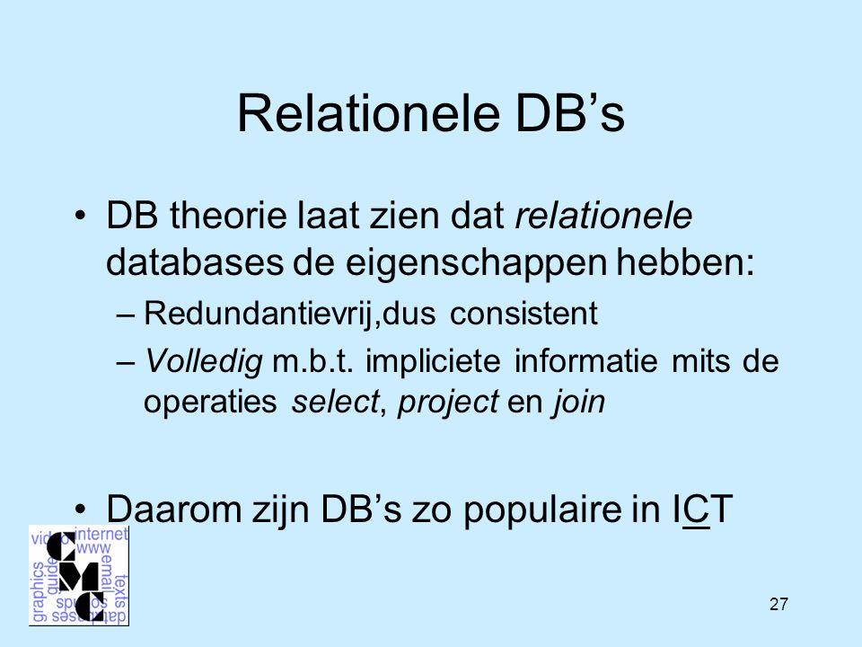27 Relationele DB's DB theorie laat zien dat relationele databases de eigenschappen hebben: –Redundantievrij,dus consistent –Volledig m.b.t.
