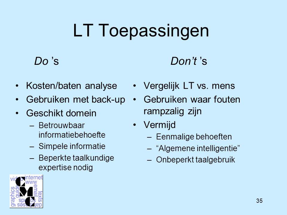 35 LT Toepassingen Vergelijk LT vs.