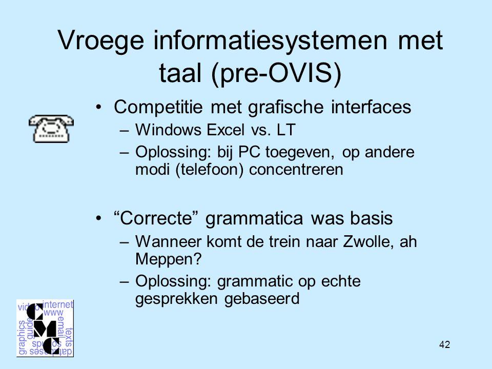 42 Vroege informatiesystemen met taal (pre-OVIS) Competitie met grafische interfaces –Windows Excel vs. LT –Oplossing: bij PC toegeven, op andere modi