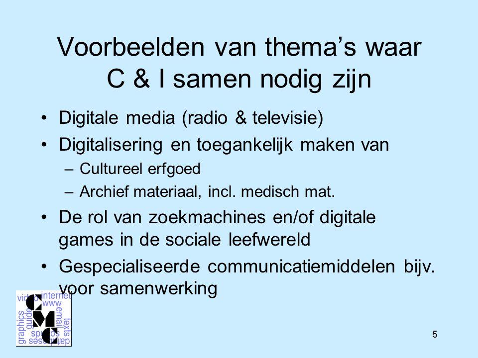 5 Voorbeelden van thema's waar C & I samen nodig zijn Digitale media (radio & televisie) Digitalisering en toegankelijk maken van –Cultureel erfgoed –Archief materiaal, incl.