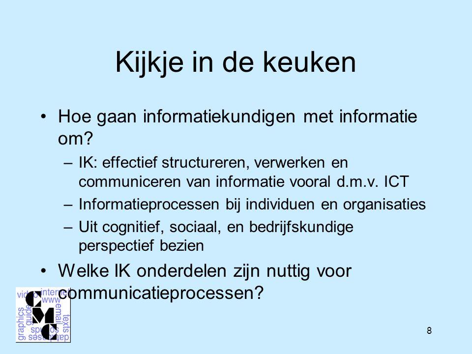 9 Korte historische opmerking –IK: effectief structureren, verwerken en communiceren van informatie vooral d.m.v.