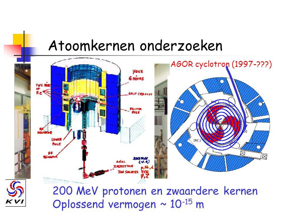 Atoomkernen onderzoeken 200 MeV protonen en zwaardere kernen Oplossend vermogen ~ 10 -15 m AGOR cyclotron (1997-???)