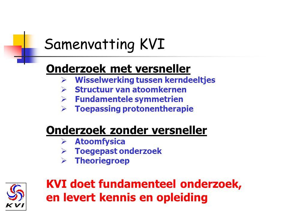 Samenvatting KVI Onderzoek met versneller  Wisselwerking tussen kerndeeltjes  Structuur van atoomkernen  Fundamentele symmetrien  Toepassing proto