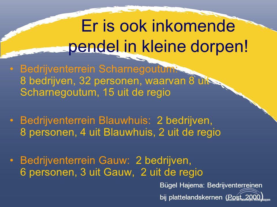 Er is ook inkomende pendel in kleine dorpen! Bedrijventerrein Scharnegoutum: 8 bedrijven, 32 personen, waarvan 8 uit Scharnegoutum, 15 uit de regio Be