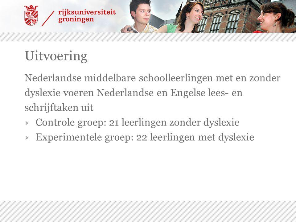 Uitvoering Nederlandse middelbare schoolleerlingen met en zonder dyslexie voeren Nederlandse en Engelse lees- en schrijftaken uit ›Controle groep: 21 leerlingen zonder dyslexie ›Experimentele groep: 22 leerlingen met dyslexie
