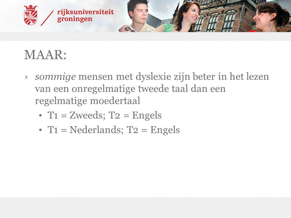 MAAR: ›sommige mensen met dyslexie zijn beter in het lezen van een onregelmatige tweede taal dan een regelmatige moedertaal T1 = Zweeds; T2 = Engels T1 = Nederlands; T2 = Engels