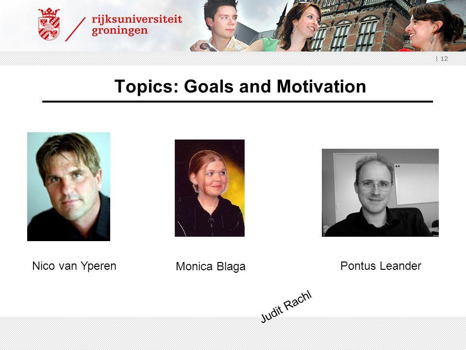 | 12 Topics: Goals and Motivation Nico van Yperen Monica Blaga Pontus Leander Judit Rachl