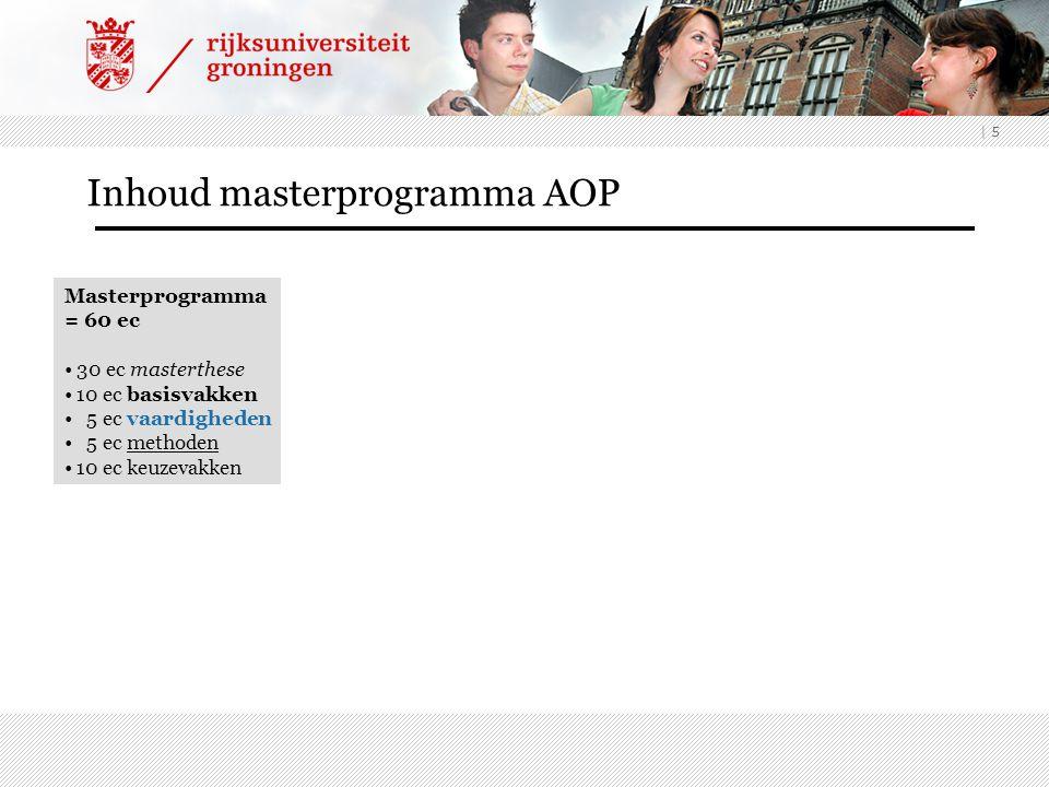 | 5 Masterprogramma = 60 ec 30 ec masterthese 10 ec basisvakken 5 ec vaardigheden 5 ec methoden 10 ec keuzevakken Inhoud masterprogramma AOP