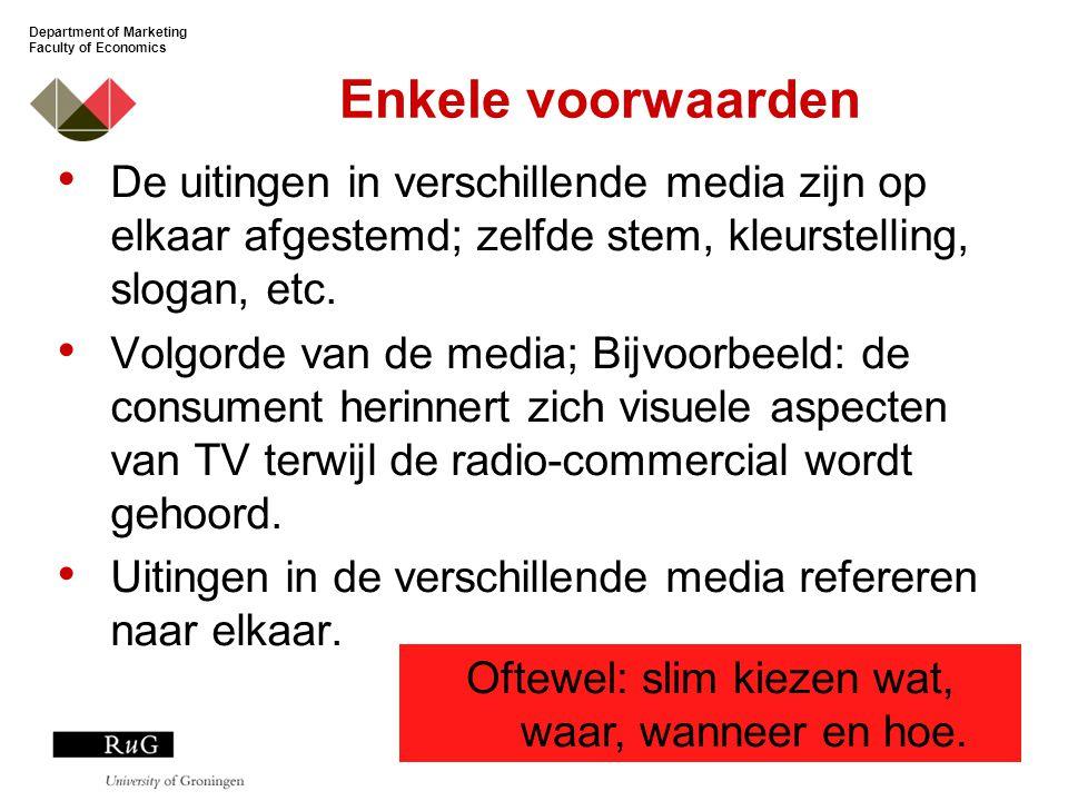 Department of Marketing Faculty of Economics Enkele voorwaarden De uitingen in verschillende media zijn op elkaar afgestemd; zelfde stem, kleurstelling, slogan, etc.