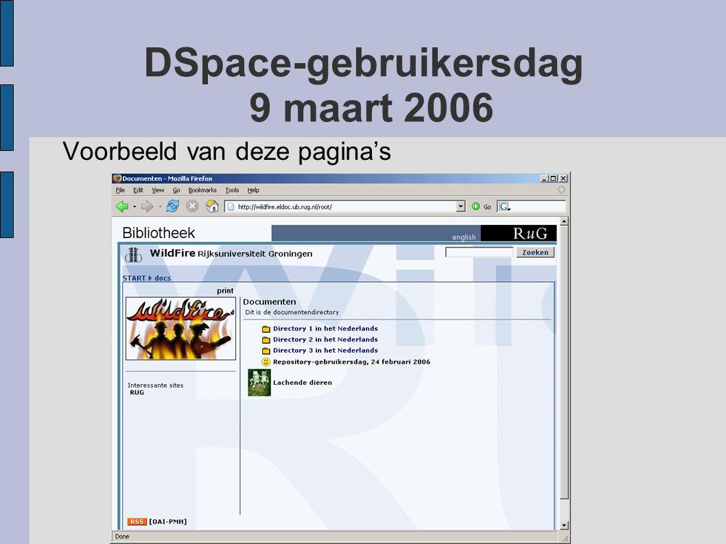 DSpace-gebruikersdag 9 maart 2006 Voorbeeld van deze pagina's