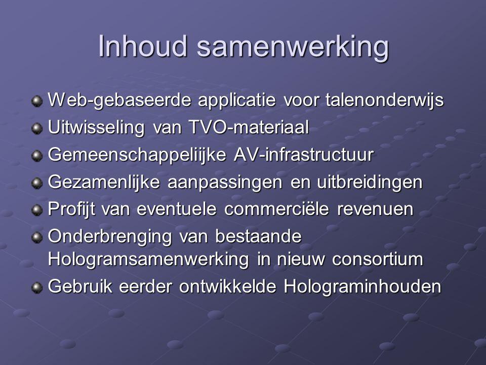 Inhoud samenwerking Web-gebaseerde applicatie voor talenonderwijs Uitwisseling van TVO-materiaal Gemeenschappeliijke AV-infrastructuur Gezamenlijke aa