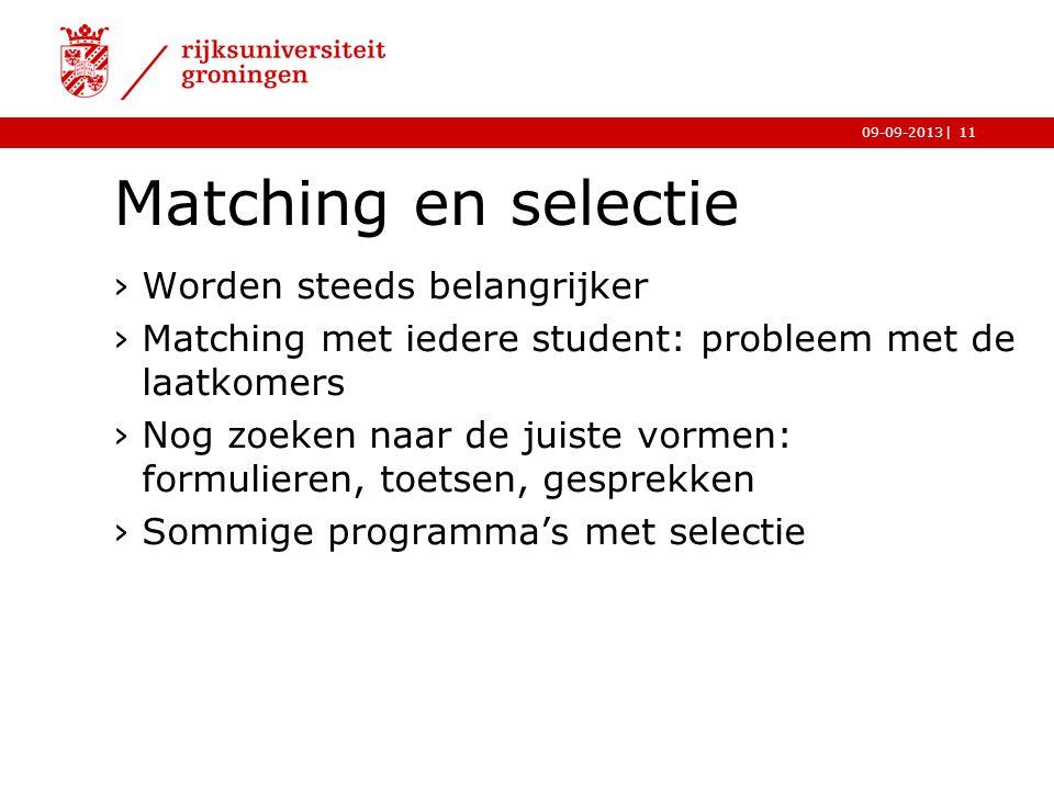 |09-09-2013 Matching en selectie ›Worden steeds belangrijker ›Matching met iedere student: probleem met de laatkomers ›Nog zoeken naar de juiste vorme