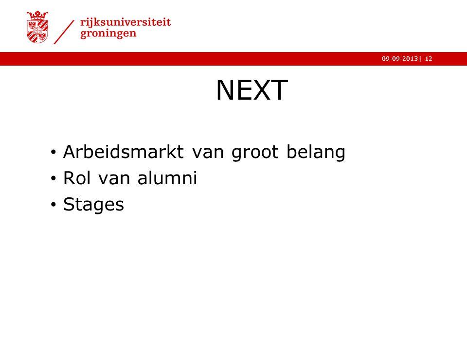 |09-09-2013 NEXT Arbeidsmarkt van groot belang Rol van alumni Stages 12