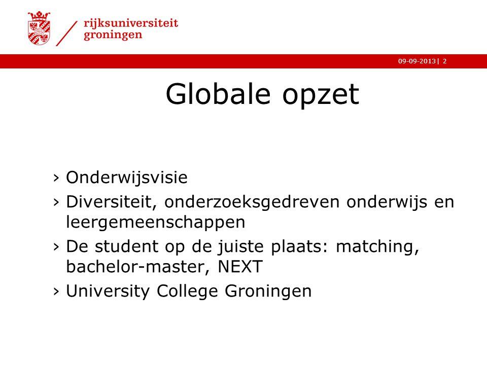 |09-09-2013 Globale opzet ›Onderwijsvisie ›Diversiteit, onderzoeksgedreven onderwijs en leergemeenschappen ›De student op de juiste plaats: matching,