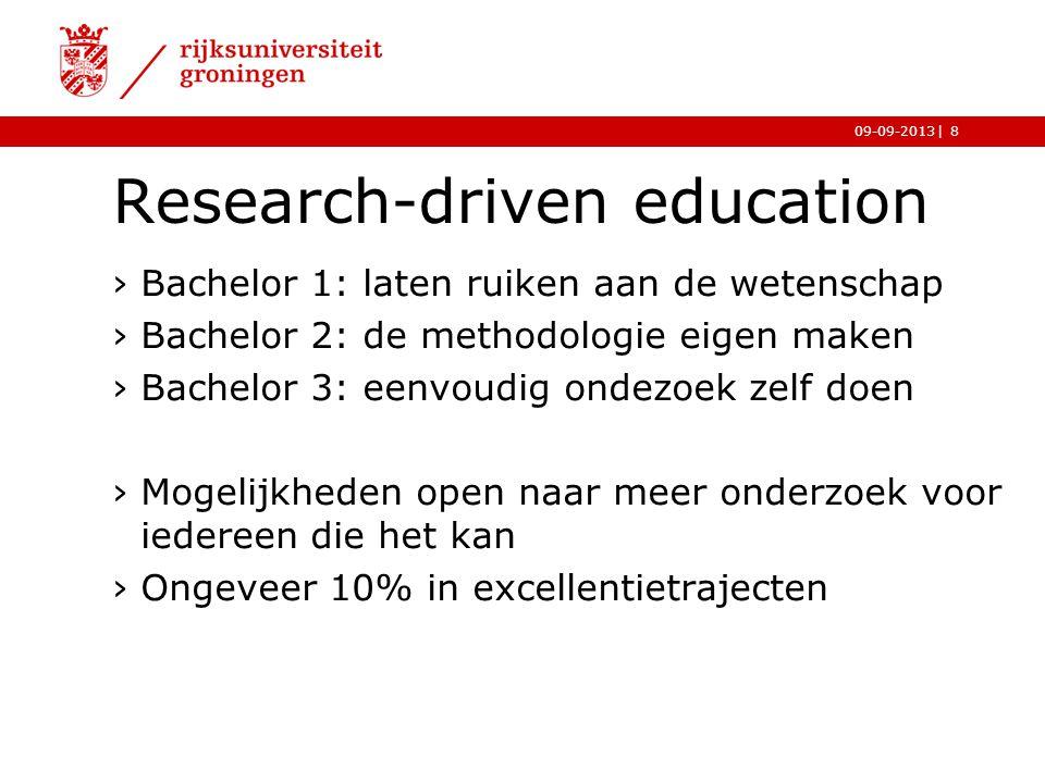 |09-09-2013 Research-driven education ›Bachelor 1: laten ruiken aan de wetenschap ›Bachelor 2: de methodologie eigen maken ›Bachelor 3: eenvoudig onde