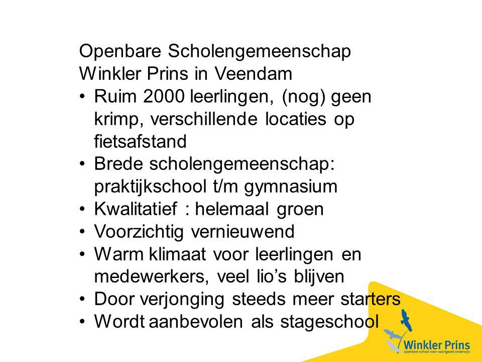 Openbare Scholengemeenschap Winkler Prins in Veendam Ruim 2000 leerlingen, (nog) geen krimp, verschillende locaties op fietsafstand Brede scholengemee