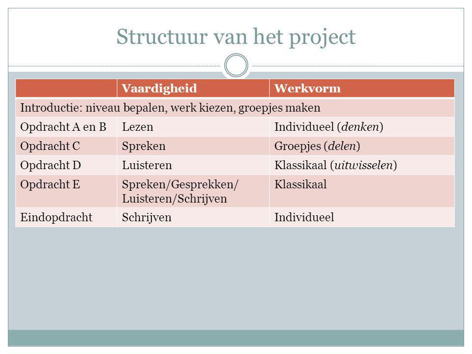 Structuur van het project VaardigheidWerkvorm Introductie: niveau bepalen, werk kiezen, groepjes maken Opdracht A en BLezenIndividueel (denken) Opdracht CSprekenGroepjes (delen) Opdracht DLuisterenKlassikaal (uitwisselen) Opdracht ESpreken/Gesprekken/ Luisteren/Schrijven Klassikaal EindopdrachtSchrijvenIndividueel
