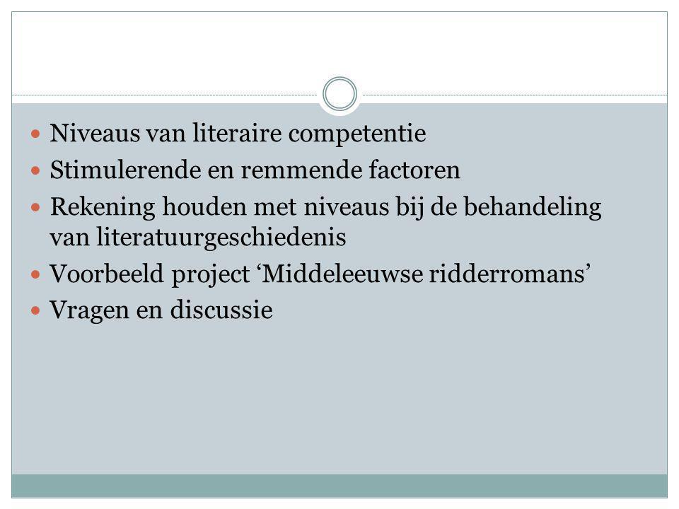 Niveaus van literaire competentie Stimulerende en remmende factoren Rekening houden met niveaus bij de behandeling van literatuurgeschiedenis Voorbeeld project 'Middeleeuwse ridderromans' Vragen en discussie